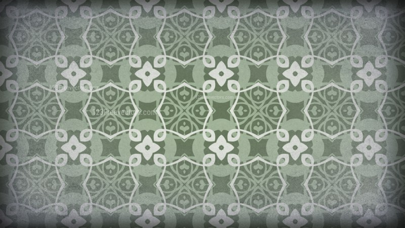 Green and Gray Vintage Decorative Floral Seamless Pattern Wallpaper Design