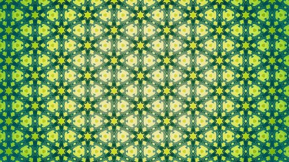 Green and Yellow Floral Ornament Wallpaper Pattern Graphic