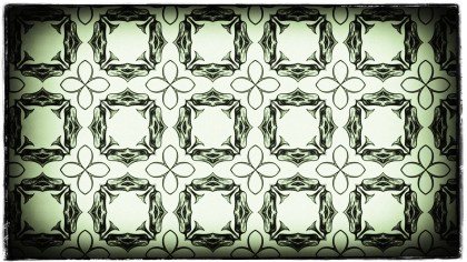 Green Black and White Vintage Floral Pattern Wallpaper