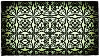 Green Black and White Vintage Ornamental Pattern Wallpaper