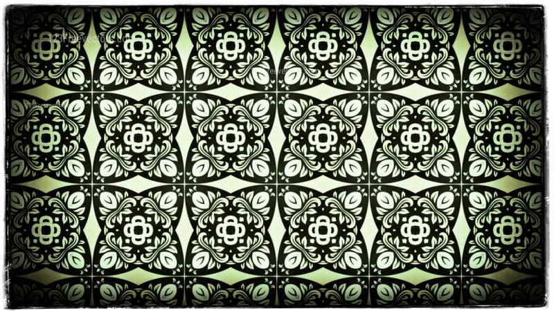Green Black and White Vintage Ornamental Pattern Wallpaper