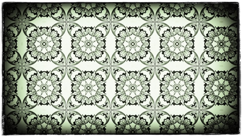 Green Black and White Vintage Seamless Ornamental Pattern Wallpaper