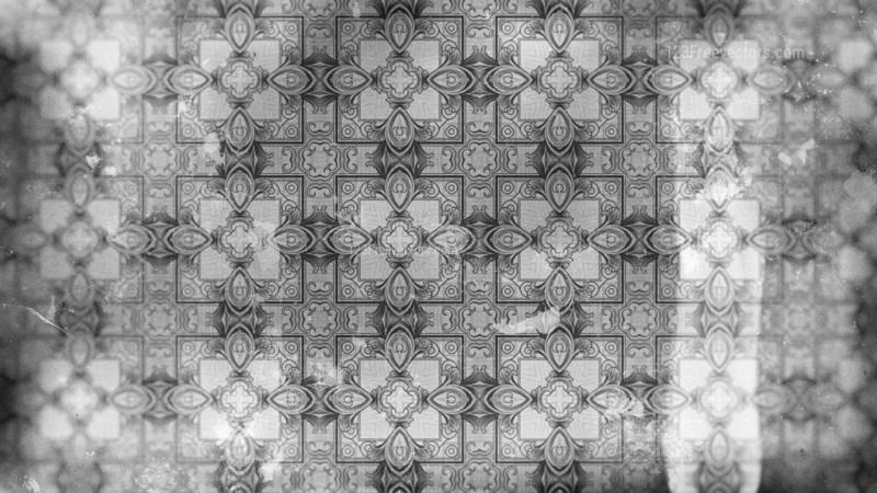 Gray Vintage Decorative Ornament Wallpaper Pattern