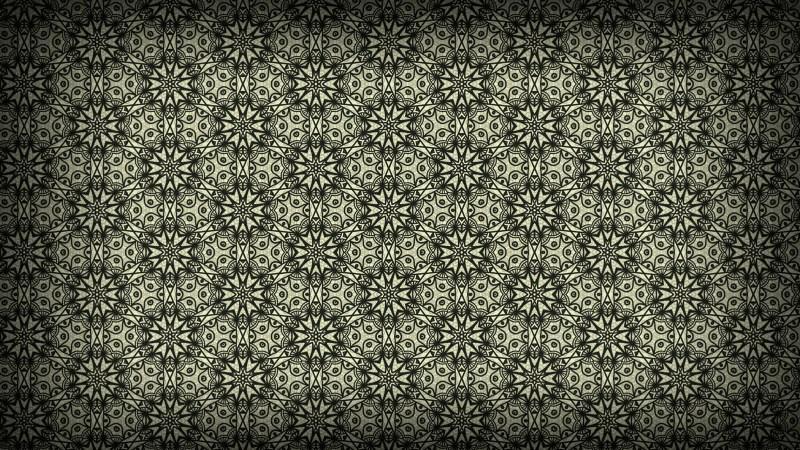 Olive Green Vintage Floral Ornament Background Pattern Template