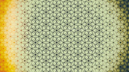 Orange and Green Vintage Floral Ornament Wallpaper Pattern Graphic
