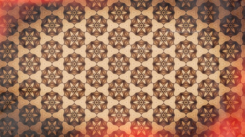 Red and Brown Seamless Floral Vintage Pattern Background Image