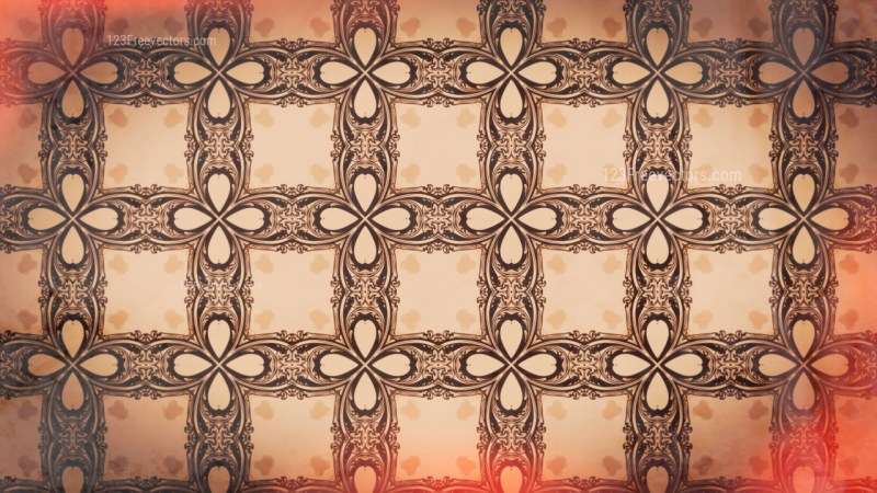 Red and Brown Vintage Flower Background Pattern