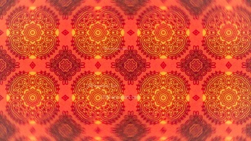 Red and Orange Vintage Seamless Ornamental Pattern Wallpaper