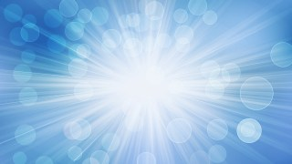 Blue and White Bokeh Lights Background with Sun Rays Vector