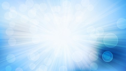 Blue and White Bokeh Lights Background with Light Rays Vector Art