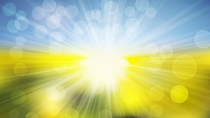 Blue Yellow and White Rays Lights Bokeh Background Vector Image