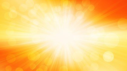 Abstract Orange and White Bokeh Lights Background with Rays