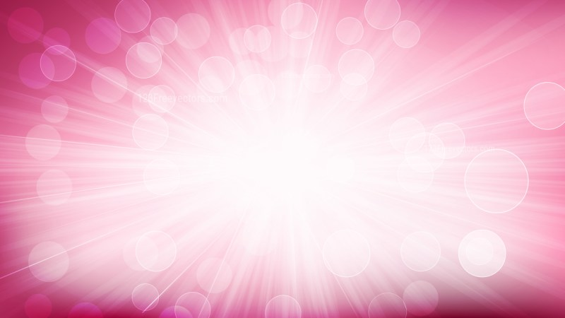 Abstract Pink and White Bokeh Defocused Lights with Light Rays Background Vector Illustration