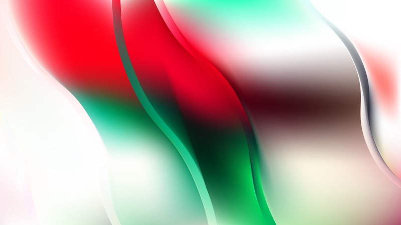 Abstract Red Green and White Wave Background