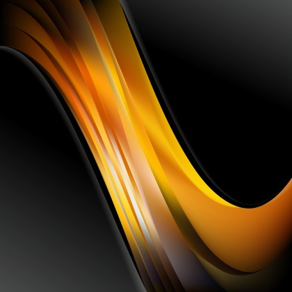 Abstract Orange and Black Wave Business Background Design Template