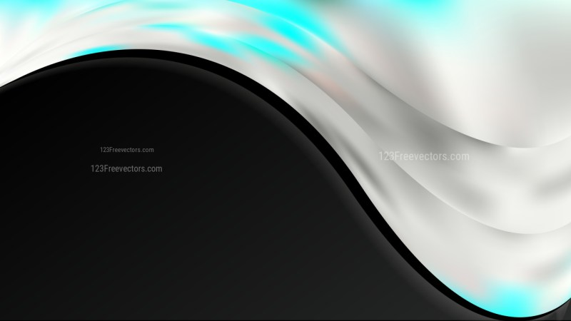 Abstract Turquoise Black and White Wave Business Background