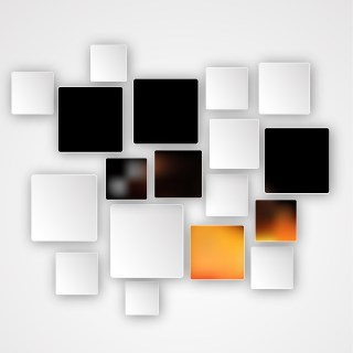 Modern Orange Black and White Square Abstract Background