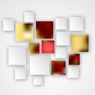 Red Gold and White Squares Abstract Background
