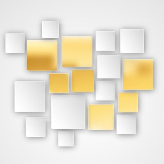 White and Gold Squares Abstract Background