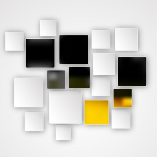 Abstract Yellow Black and White Square Background