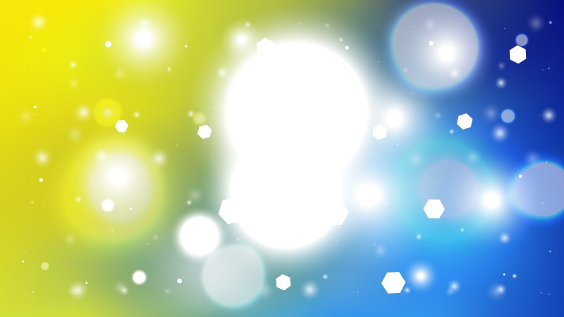 Abstract Blue Yellow and White Defocused Lights Background Vector