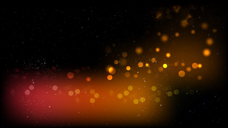 Abstract Orange and Black Bokeh Lights Background