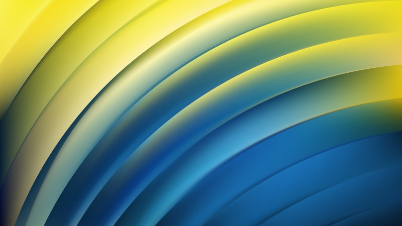 Abstract Blue and Yellow Shiny Curved Stripes Background