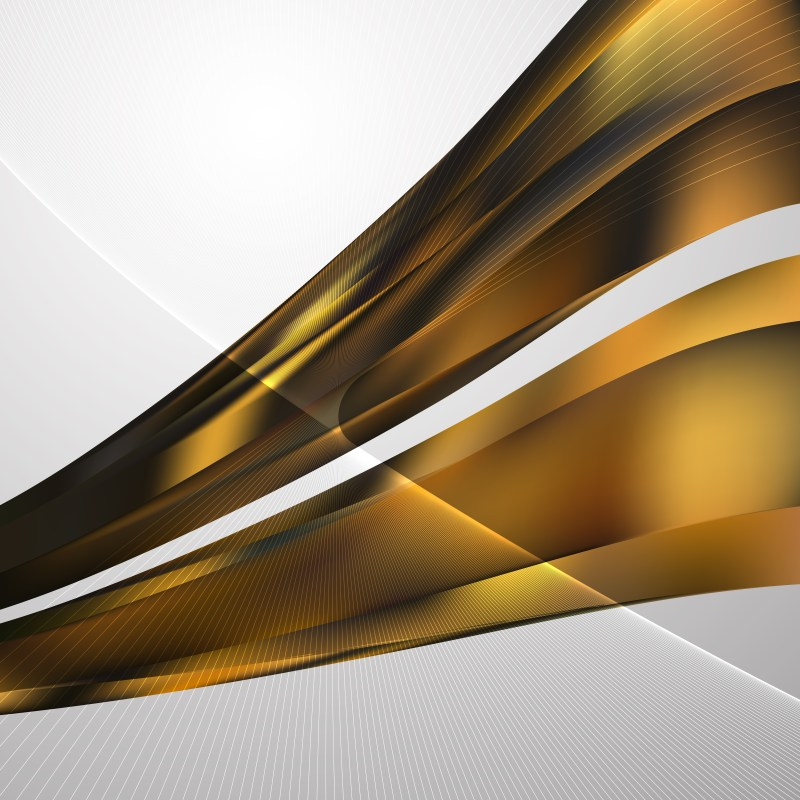 Black and Gold Curved Lines Background Vector Illustration