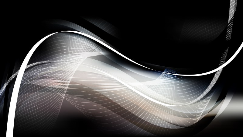 Abstract Black and Grey Wavy Lines Background Template