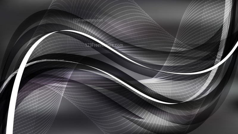 Black and Grey Flowing Curves Background Vector Graphic