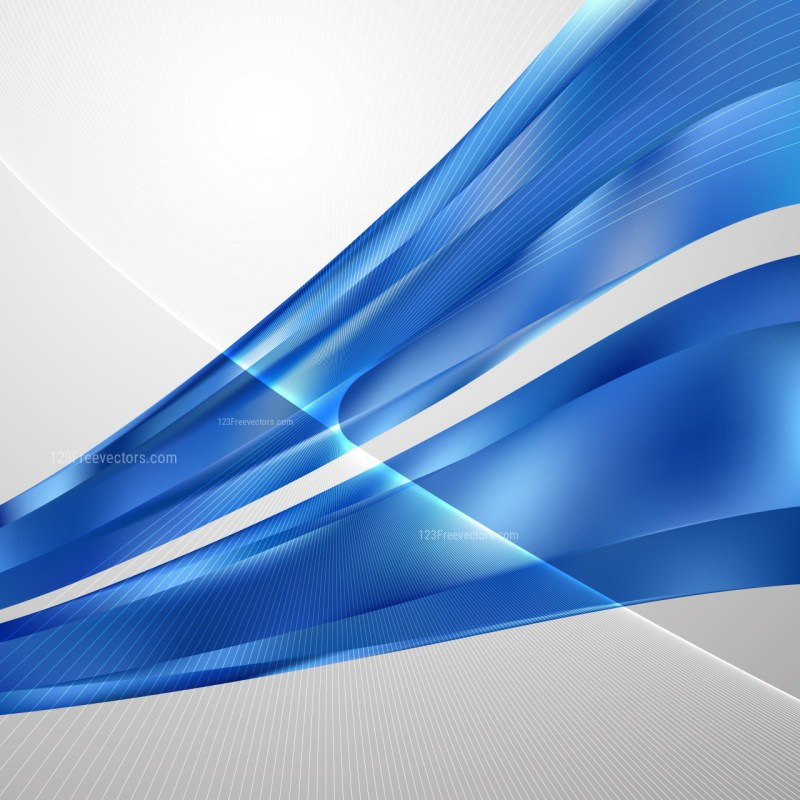 Abstract Blue Curved Lines Background Vector Illustration