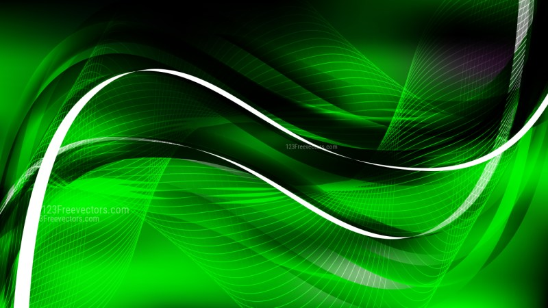 Abstract Cool Green Curved Lines Background Vector Illustration