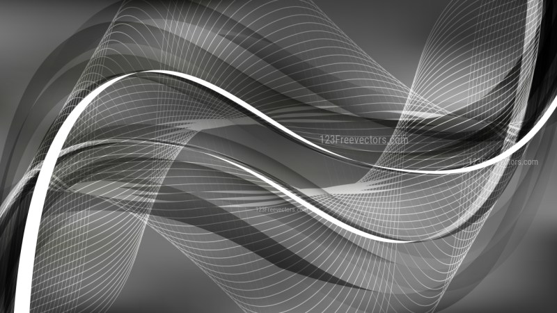 Abstract Dark Grey Curved Lines Background Vector Illustration