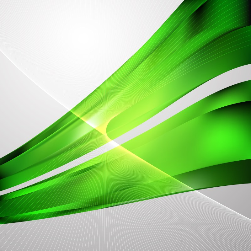 Abstract Green Wave Lines Background
