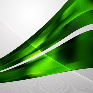 Abstract Green and Black Flowing Curves Background