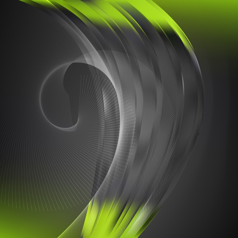 Abstract Green and Black Flowing Lines Background