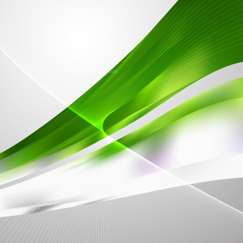 Green and White Wave Lines Background Design Template