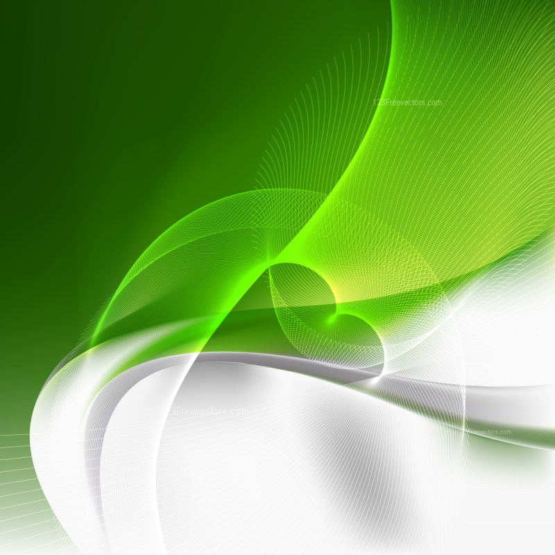 Abstract Green and White Curved Lines Background
