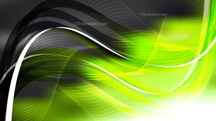 Abstract Green Black and White Flowing Lines Background