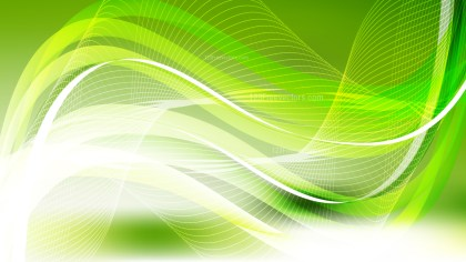 Abstract Green Yellow and White Curved Lines Background Vector Illustration