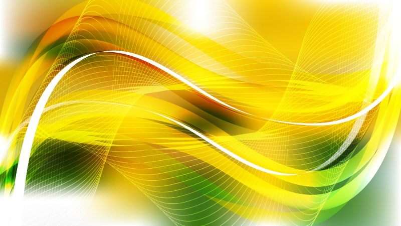 Green Yellow and White Wave Lines Background Design Template