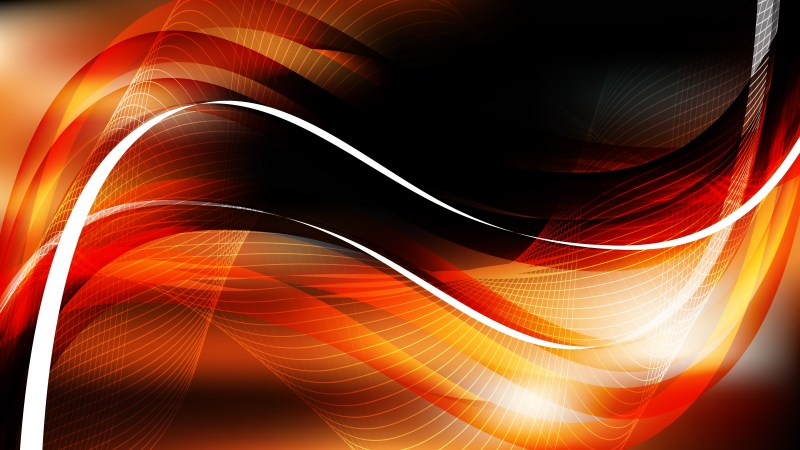 Orange and Black Wavy Lines Background Template