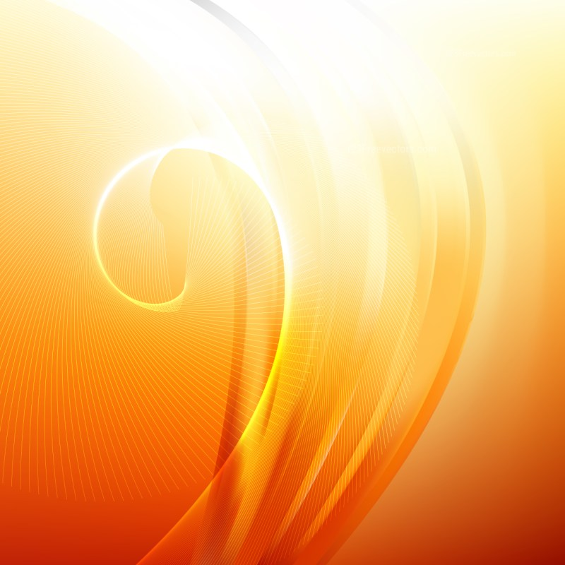 Abstract Orange and White Flowing Curves Background