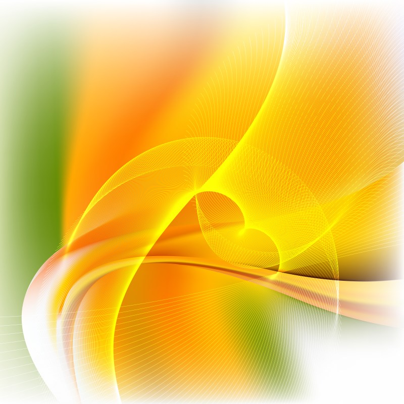 Abstract Orange White and Green Flow Curves Background