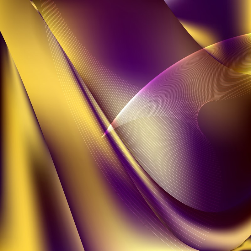 Purple and Gold Wave Lines Background Design Template