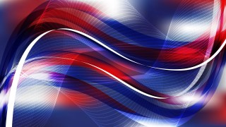 Abstract Red White and Blue Flowing Curves Background
