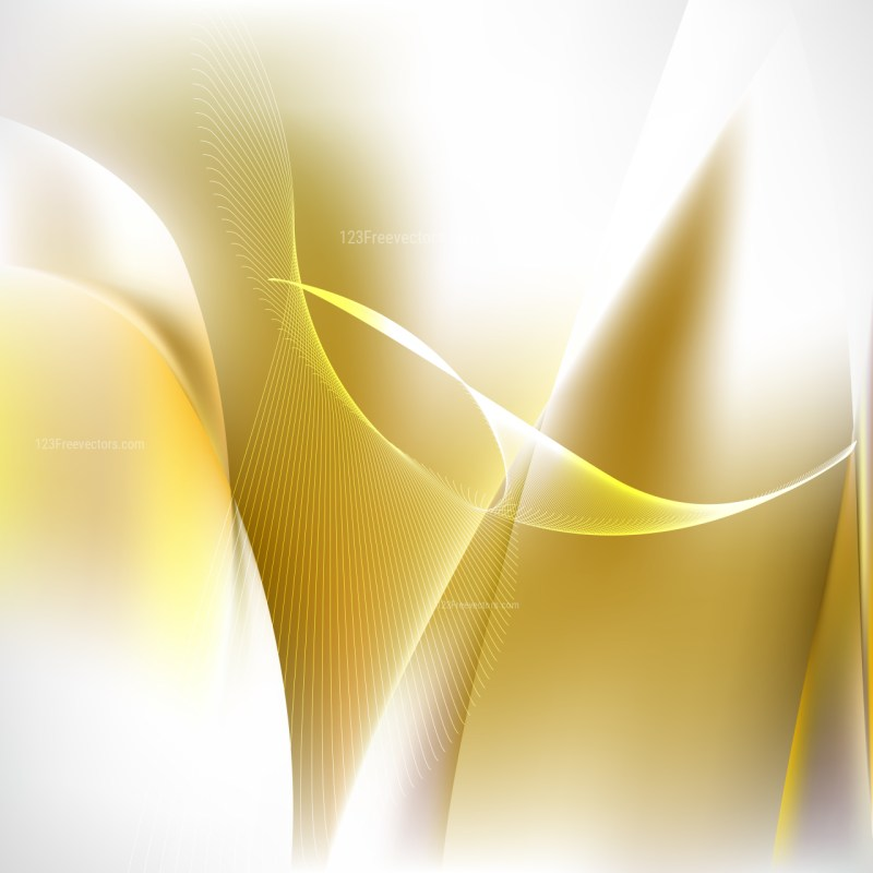 Abstract White and Gold Wavy Lines Background Template