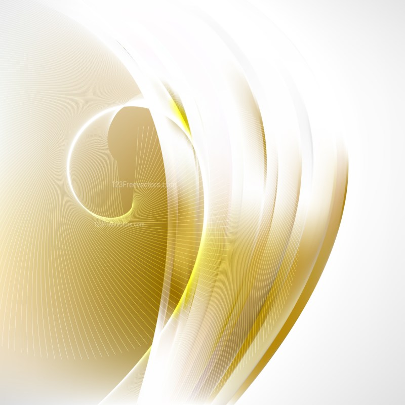 Abstract White and Gold Wave Lines Background
