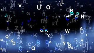 Abstract Black and Blue Scattered Letters Background Vector Illustration