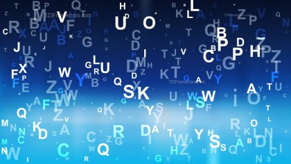 Black and Blue Scattered Letters Background Vector Image